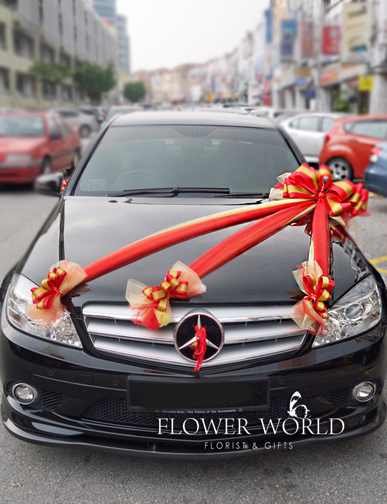 Car deco ribbons for car car decoration wedding cars for Automotive decoration