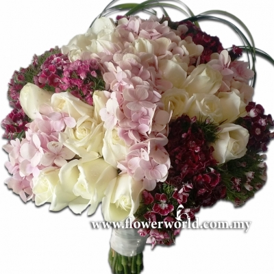 Hydrangea, Roses and Sweet William Bouquet
