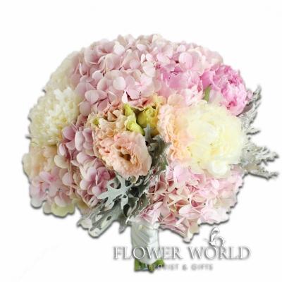 Peonies, Hydrangea and Eustomas Bridal Bouquet