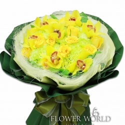 Cymbidium, Rose & Carnation Bouquet