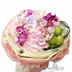 Peony, Cymidium  & Hydrangea Bouquet