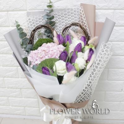 Tulips, Hydrangeas and Eustomas in Bouquet