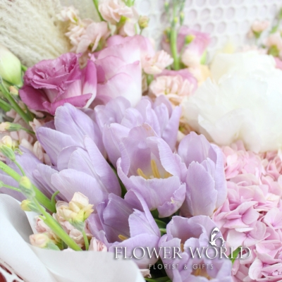 Peonies, Hydrangeas and Tulips in a bouquet