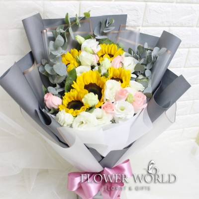 Sunflower, Roses and Eustoma Bouquet
